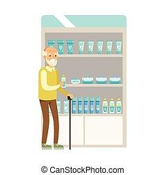 set, vecchio, droghe, clienti, scene, farmacia, cosmetica, parte, scegliere, farmacisti, farmacia, acquisto, uomo