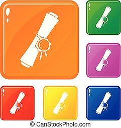 set, vecchio, icone, rotolato, carta cera, colorare, vettore, sigillo, rosso