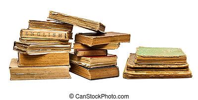 set, vecchio, vendemmia, isolato, libri, fondo, bianco