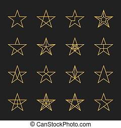 set., vecteur, étoiles