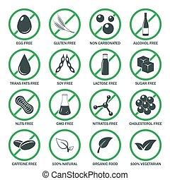 set., vecteur, allergène, icônes