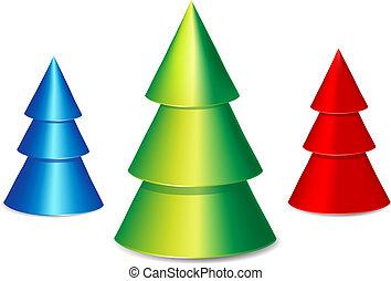 set., vecteur, arbre, noël, illustration.