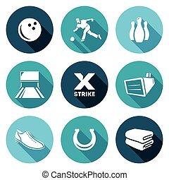 set., vecteur, bowling, illustration., icônes