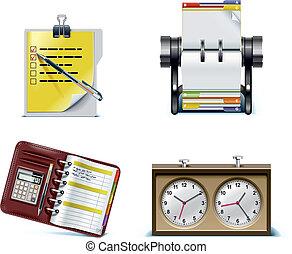 set., vecteur, bureau, p.2, icône