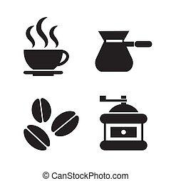 set., vecteur, café, illustration., icône