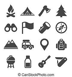 set., vecteur, camping, randonnée, icônes