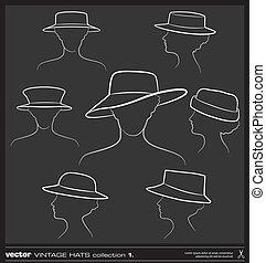 set., vecteur, chapeau, dessin, femme