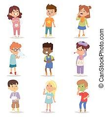 set., vecteur, enfants, malade