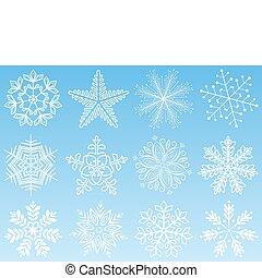 set., vecteur, flocon de neige, illustration.