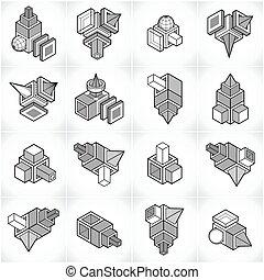 set., vecteur, formes, conceptions, 3d, résumé