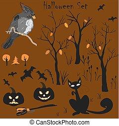 set., vecteur, halloween, illustration, élément