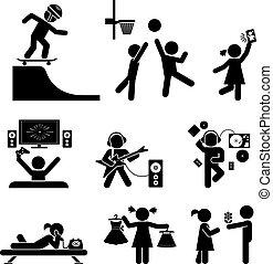 set., vecteur, ico, enfance, pictogramme
