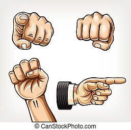 set., vecteur, illustration, mains
