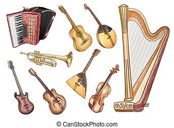 set., vecteur, instruments., musical