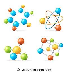 set., vecteur, molécule, coloré
