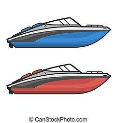 set., vecteur, moteur, accélérez bateau, icône