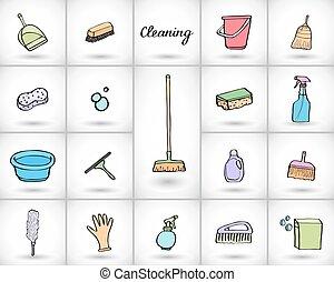 set., vecteur, outils, nettoyage, illustration