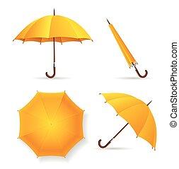 set., vecteur, parapluie, jaune, gabarit