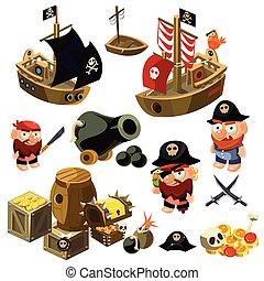 set., vecteur, pirate, illustration.