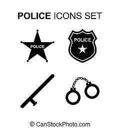 set., vecteur, police, icônes
