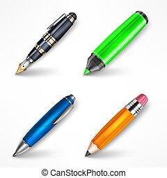 set., vecteur, stylos, illustration.
