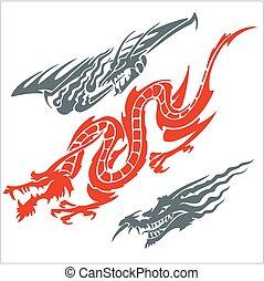 set., vecteur, tattoo., dragons