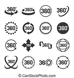 set., vector, 360 grado, iconos