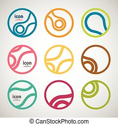 Set vector abstract circle icon. Molecule design