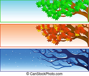 set, vector, achtergronden, seizoenen