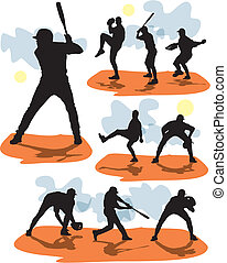 set vector baseball silhouettes