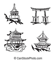 set vector black and white images asian temples and architecture