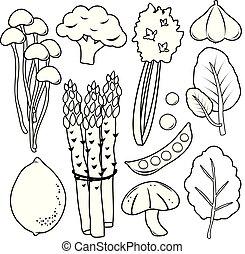 set, vector, black , groente, lijn, pictogram