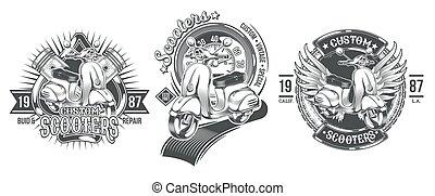 Set vector black vintage badges, emblems with a custom scooter