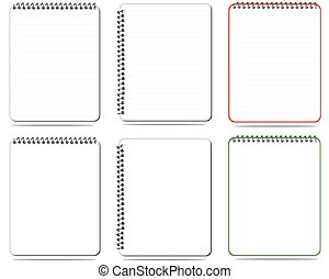 Set ,vector blank lined notebook