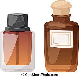 set., vector, botella, perfume