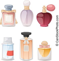 set., vector, botella, perfume