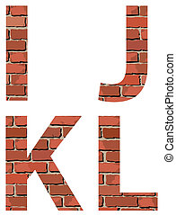 Set vector brick alphabet