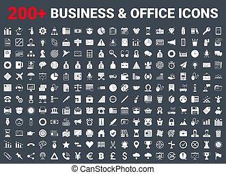 Set vector business icons glyph set.