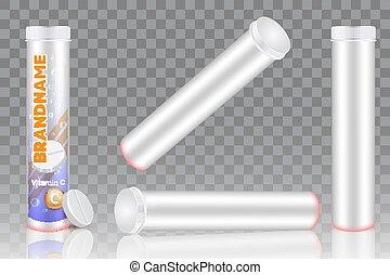 set, vector, c, vrijstaand, vitamine, mockup, verpakking, illustratie