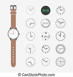 set., vector, cara de reloj
