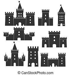 set., vector, castillo, icono, medieval