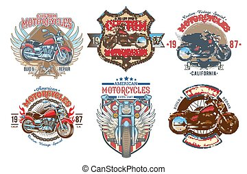 Set vector color vintage badges, emblems with a custom motorcycle