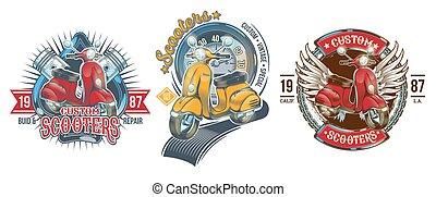 Set vector color vintage badges, emblems with a custom scooter