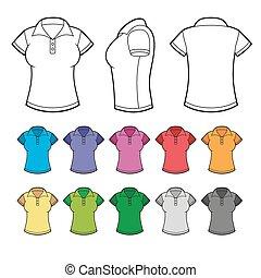 set, vector., colorito, shirts., femmina, polo