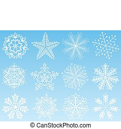set., vector, copo de nieve, illustration.