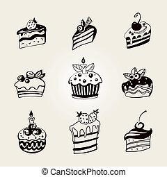 set., vector, cupcakes