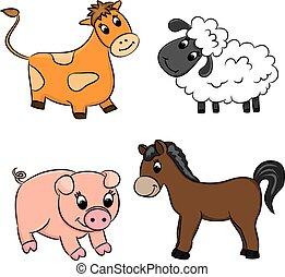 set, vector, dieren, spotprent