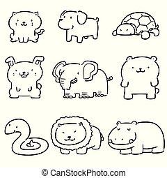 set, vector, dieren