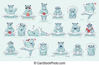 Set Vector Emoji character cartoon ballerina Hippopotamus