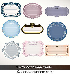 set, vector, etiketten, frame, decoratief